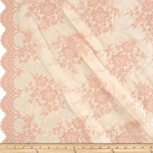 Ben Textiles Inc. Chantilly Lace Double Border Peach Fabric by The Yard
