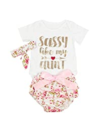 puseky 3pcs Infant Baby Girls Letter Romper+Floral Ruffle Shorts+Headband Clothes Outfits Set