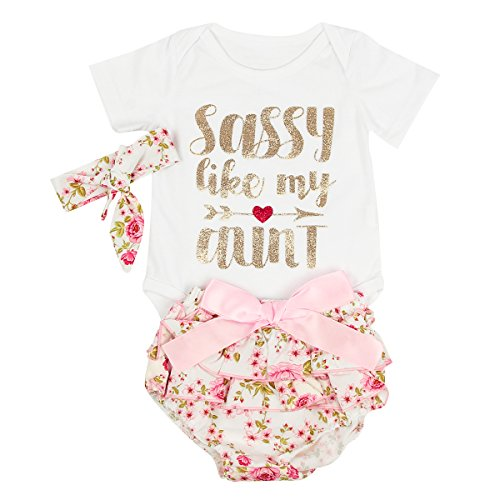 puseky 0-24M Infant Baby Girls Letters Romper+Floral Shorts+Headband Clothes Set (0-6 Months, White+Floral)