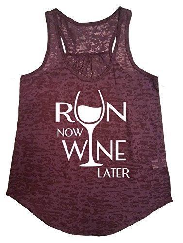 Tough Cookie's Women's Flowy Burnout Run Now Wine Later Printed Workout Tank Top (Medium, - Top Run