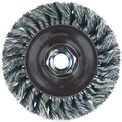 "PFERD 82315 Power Knot Wheel Brush with Stringer Bead Twist, Threaded Hole, Stainless Steel Bristles, 4-1/2"" Diameter, 0.20"" Wire Size, 5/8""-11 Thread, 20000 Maximum RPM, 32 Knots"
