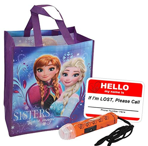 Disney Frozen Anna & Elsa Inspired Girls Resuable Large Sized Halloween Trick Treat Loot Bag!! Plus Bonus Safety First Sticker & Mini Halloween Flashlight Necklace! -