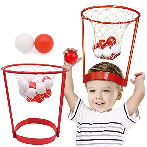 Eforoutdoor Toys for Kids Basket Case Headband Hoop Game Portable Basketball Hoop Toy Catching Basketball Kid Game Head Strap Party Favors Game with 20 Balls for Boys Girls by Eforoutdoor