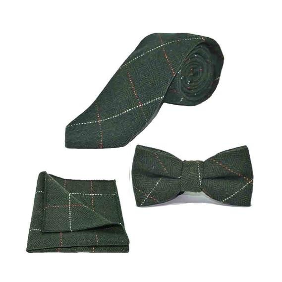 Luxury Herringbone Forest Green Tweed Men/'s Tie /& Pocket Square Set