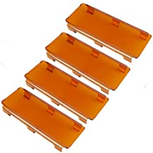 Lightronic 4pcs 8 Inch Amber LED Light Bar Cover, Perfect in Snowy/Rainy or Foggy Days Used,50 Inch Light Bar Cover Amber