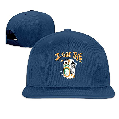 Custom Solid Hiphop Chance The Rapper Juice Fitted Flat Bill Baseball Cap Navy