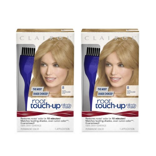 Clairol Nice 'n Easy Root Touch-Up 8 Matches Medium Blonde Shades 1 Kit, (Pack of 2) (PACKAGING MAY (Clairol Nice N Easy Shades)