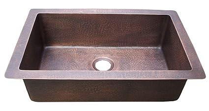 Copper Kitchen Sink Undermount Hand Hammered Sinda KSU289LH ...