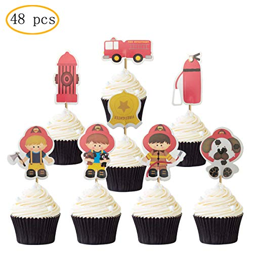 Fire Truck Cupcakes (48PCS Fire Truck Cupcake Topper for Kids Birthday Party Cake)