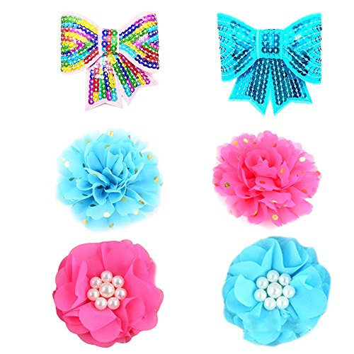 Decorated Lace - PET SHOW Valentine's Day Dog Charms Flower Collar Accessories For Cat Puppy Collars Bowtie Grooming Pack of 6