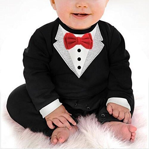 The Beach Stop Smart Baby Boy Romper Red Bow Tie All In One Jumpsuit Dinner Suit
