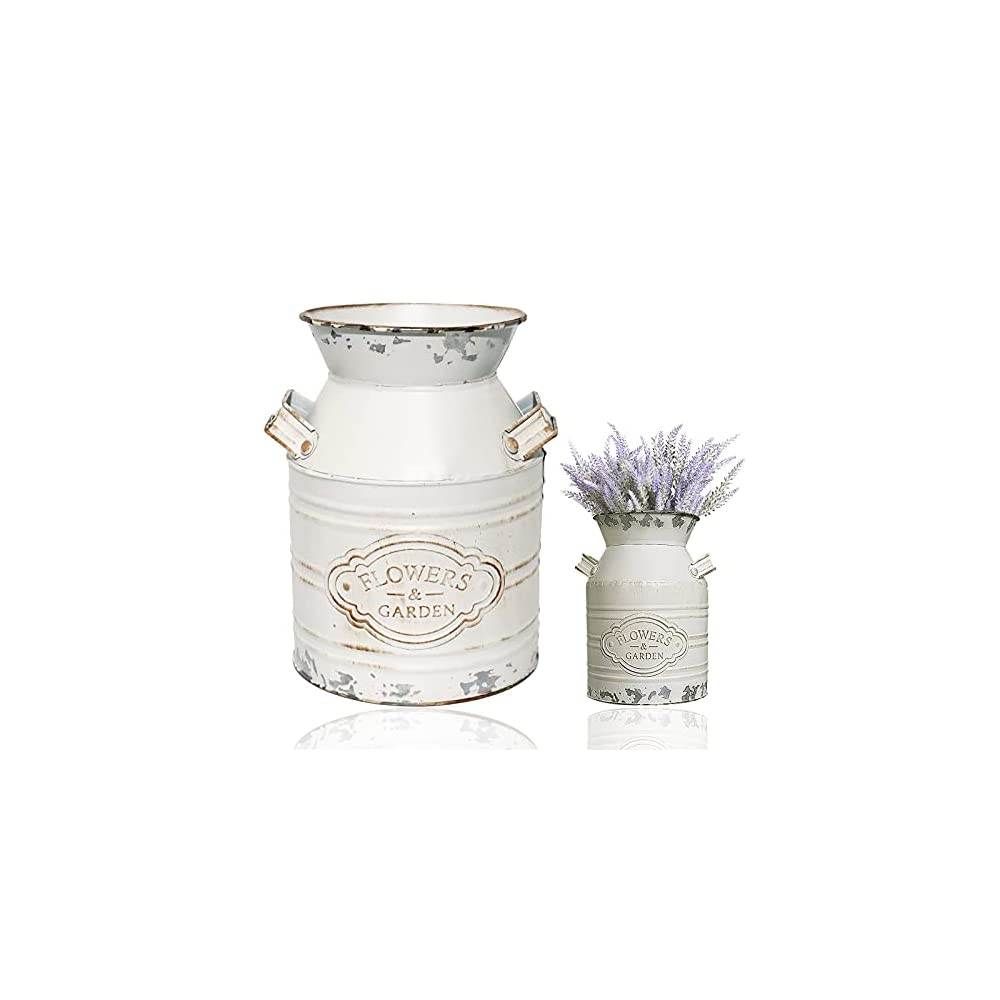 "Vintage Metal Flower Vase, Metal Galvanized Milk Can White Farmhouse Vase Decor with Handle for Home Decoration,7.5"" H"