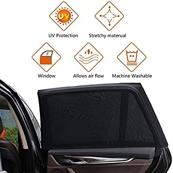 TDTOK Universal Car Window Sun Shade Front Window 2 Pack Universal Front Window Car Sun Shade for Side Window Protects from Sun Burn Heats and UV Rays