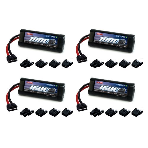 Venom 7.2V 1600mAh 6-Cell NiMH Battery with Universal Plug (EC3/Deans/Traxxas/Tamiya) x4 Packs (Battery 1600 Rc Mah)