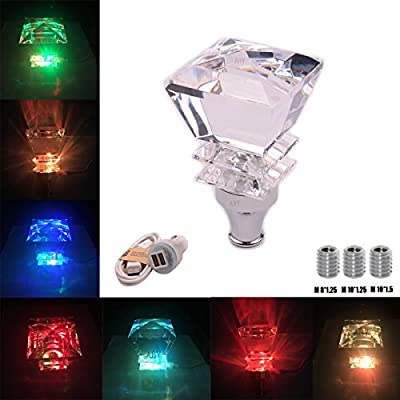 AutoBoy Crystal Diamond Shape Touch Activated Multi-color LED Light Illuminated Gear Stick Shift Shifter Knob Fit For Car Manual Transmission and Automatic Transmission Without Lock Button