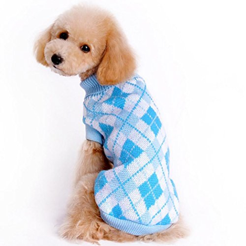 (Puppy Sweater, Howstar Pet Classic Warm Clothing Knitted Soft Sweatshirt Clothes (Sky Blue,)