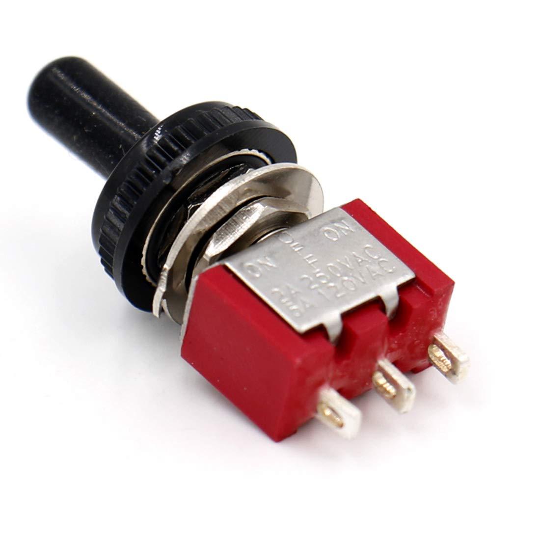 Heschen mini momentaneo interruttore a levetta mts-123, on SPDT -off- Ur elencati con copertura impermeabile 2/A 250/V 5/A 120/V on 3/pin confezione da 5