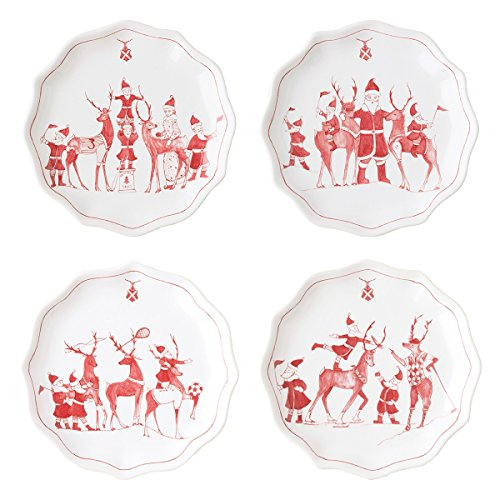 Juliska Country Estate Reindeer Games Ruby Tidbit Plates Set/4
