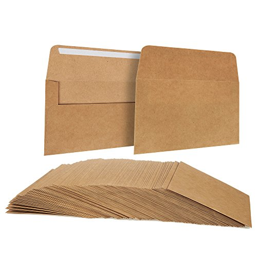 Juvale A6 Envelopes Bulk - 100-Count A6 Invitation Envelopes, Kraft Paper Envelopes for 4 x 6 Inch Wedding, Baby Shower, Party Invitations, Square-Flap Photo Envelopes, Brown, 4 3/4 x 6 1/2 Inches