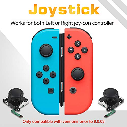 Vastar 2-Pack 3D Joycon Joystick Replacement - Screwdriver Tool, Analog Thumb Stick for Nintendo Switch Joy-Con Controller with 4 Cat Paw Thumbstick Caps, ONLY Compatible with Versions before 9.0.03