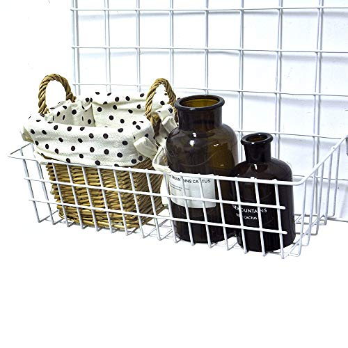 ANZOME Grid Basket, Wire Wall Basket with Hook, Wall Mount Organizer for Grid Panel, Wire Storage Shelf Rack for Home Supplies, Wall Decor(White)