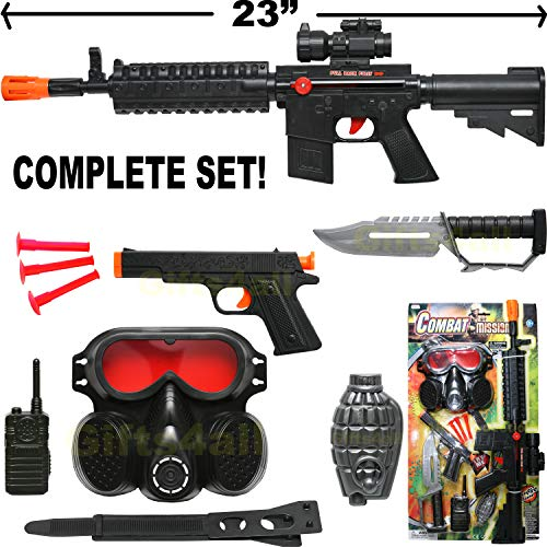 AK-47 TOY ASSAULT RIFLE KID BOY MACHINE GUN SOUND MILITARY ARMY CAR-15 M-16 -