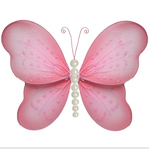 """Hanging Butterfly Small 5"""" Pink Pearl Nylon Mesh Butterflies"""