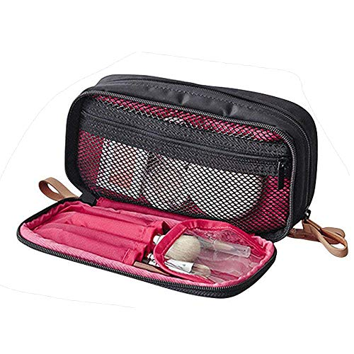 (Makeup Handbag Travel Cosmetic Bags Brush Pouch Toiletry Kit Fashion Women Jewelry Organizer with Double zipper Brush Holders Carry Case Portable Cube Purse (Black))
