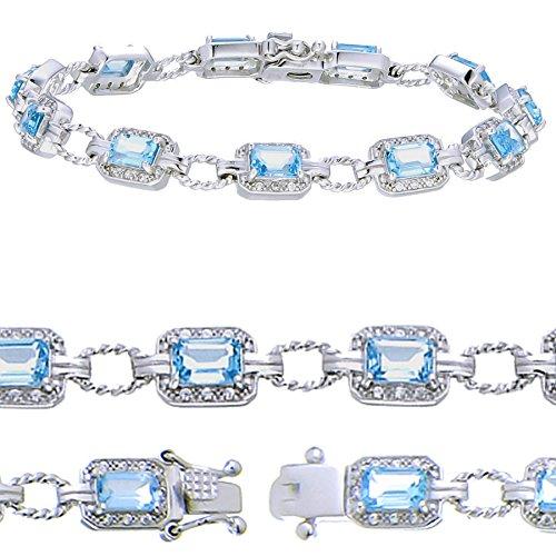 Sterling Silver Blue Topaz Bracelet (5.50 CT)