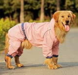 Easting Dog Hooded Rain Slicker Waterproof Jacket Dog Rain Poncho Rain Coat for Medium to Large Dogs for Golden Retriever, Samoyed, Akita, Labrador Retriever, Breeds (Pink/14#)