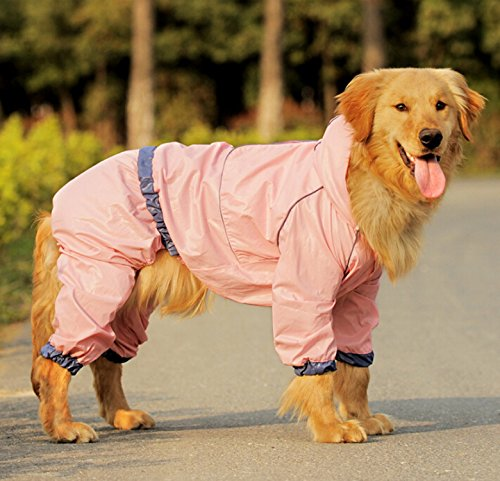 Easting Dog Hooded Rain Slicker Waterproof Jacket Dog Rain Poncho Rain Coat for Medium to Large Dogs for Golden Retriever, Samoyed, Akita, Labrador Retriever, Breeds (Pink/14#) by Easting&co