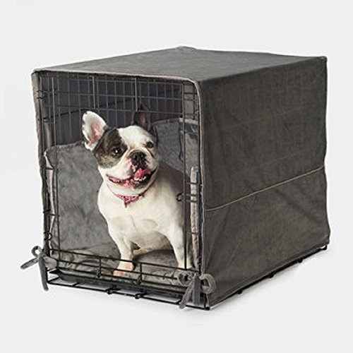 "Pet Dreams New Double Door 3 Piece Crate Bedding Set. THE ORIGINAL CRATE COVER, CRATE PAD AND BUMPER JUST GOT BETTER! Small Fits 24"" Midwest Crate - Graphite Gray by"