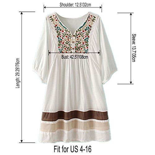 Dress Bohemian Pink AsherFashion Tunic Neck V Women's Peasant Embroidered ww7O4vqx