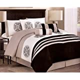 7-pieces Embroided Medallion Comforter Set King, Black/Taupe/White