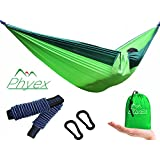 """Phyex Double Camping Hammock - Lightweight Hammock for Camping, Travel, Hiking, Beach, Yard. Fit 2 Person, 118"""" (L) x 78"""" (W) (XL,Green)"""