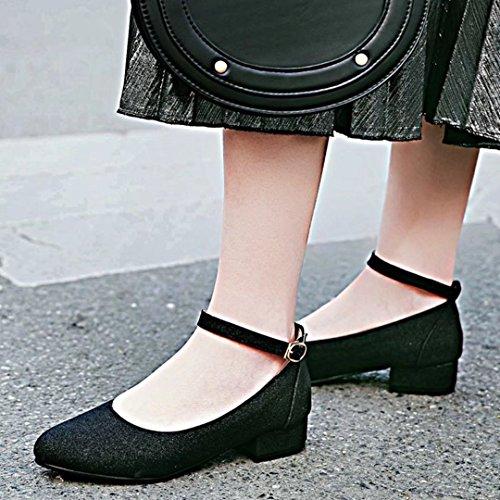 AIYOUMEI Damen Chunky Heel Glitzer Knöchelriemchen Pumps mit Schnalle und 3cm Absatz Schwarz