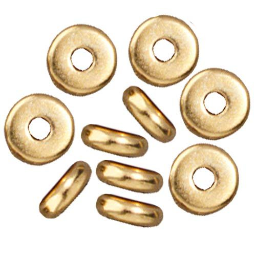 Bright 22K Gold Plated Lead-Free Pewter Disk Heishi Spacer Beads 5mm (20) - Heishi Spacer Beads