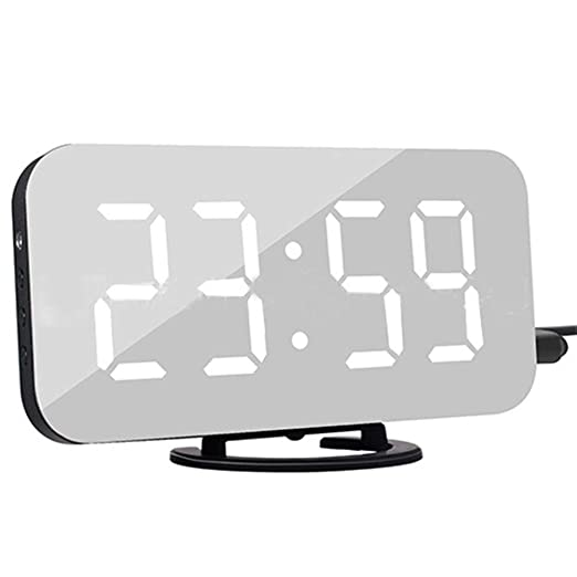 Multifunción LED Espejo Despertador Digital Snooze Pantalla Tiempo ...
