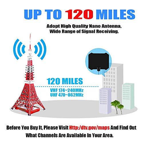20-120 Miles Indoor VHF UHF HDTV Antenna Digital TV Signal Amplifier Booster NEW