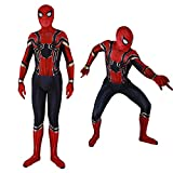 Unisex Lycra Spandex Zentai Halloween Spiderman Cosplay Costumes Suit for Adult/Kids 3D Style (Kids-L, Red, Black and Gold)