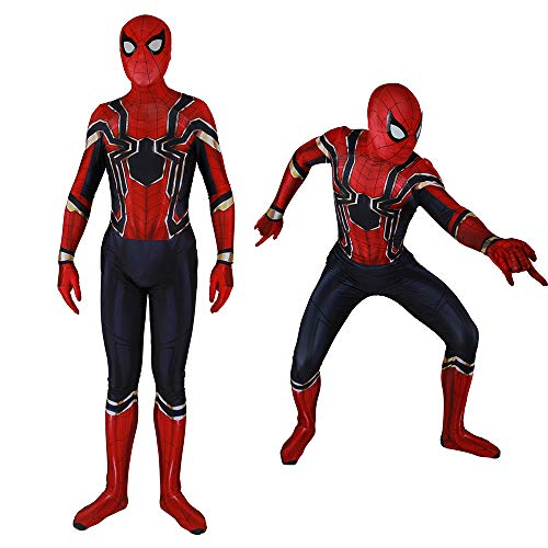 Unisex Lycra Spandex Zentai Halloween Spiderman Cosplay Costumes Suit for Adult/Kids 3D Style (Adults-L, Red, Black and Gold)