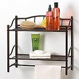 Creative productos de baño colección completa 2estante organizador de pared con toallero de barra, bronce aceitado