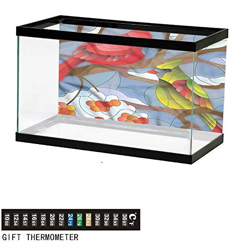 bybyhome Fish Tank Backdrop Cardinal,Stained Glass Style Birds,Aquarium Background,48