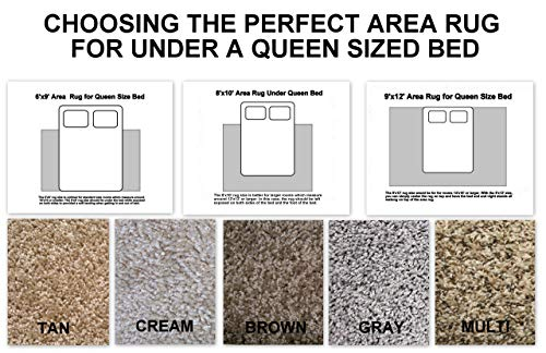 Choosing The Perfect Area Rug for Under A Queen Size Bed. Multiple Colors and Size Options to Choose from (9x12, Gray)