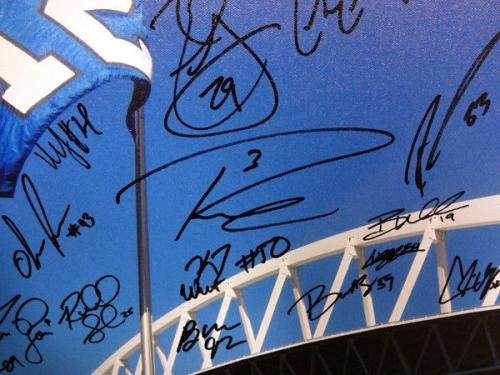 2013 Seahawks Sb Team Autographed Signed Framed 20x30 Canvas Photo 42 Sigs 94470 Autographed NFL Art