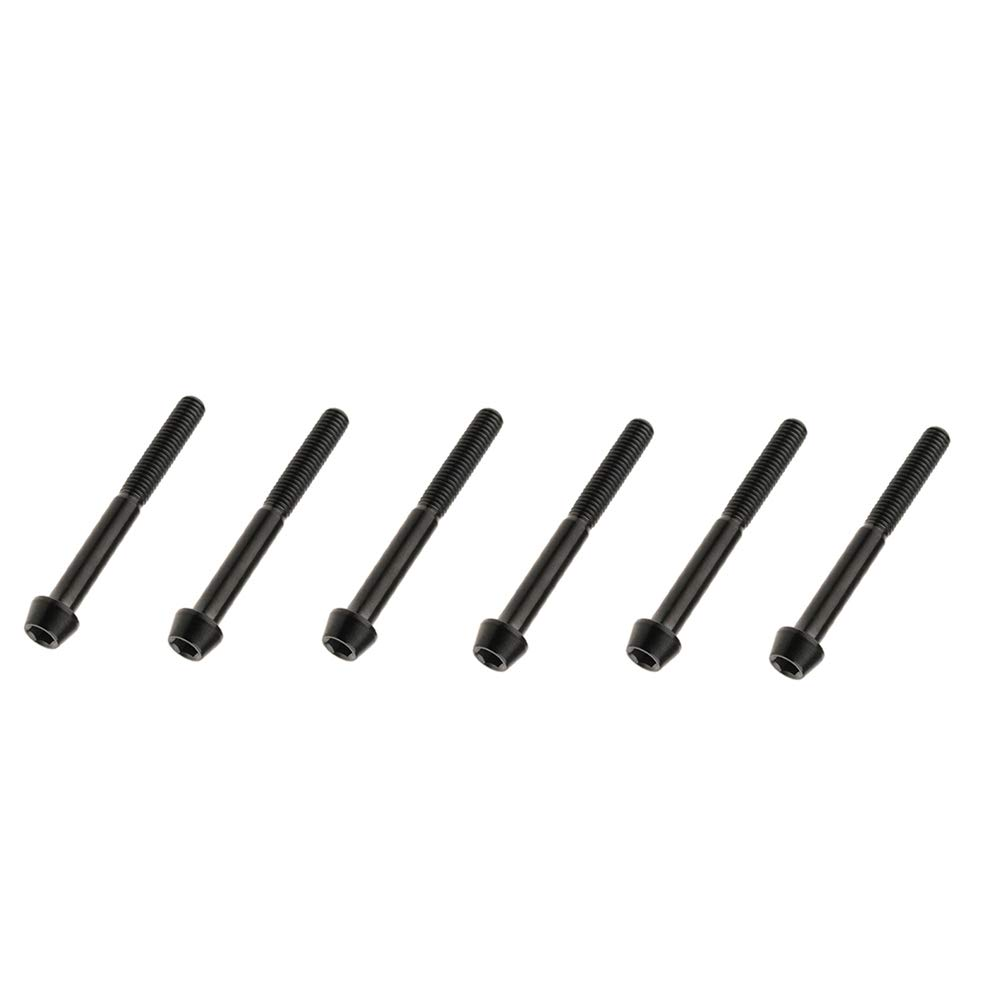 M6x10mm, Black Yaruijia Titanium Bolt DIN912 M6x10//15//16//18//20//25//30//35//40//45//50//55//60mm Taper Head Hex Socket Screws Pack of 6