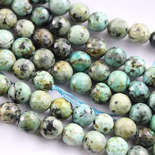 Faceted Natural African Turquoise Round for Necklace Gemstone Loose Beads (Faceted 8mm)