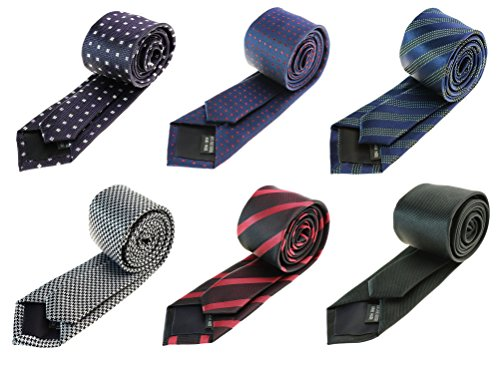 Tiger Mama 6pcs Business Skinny Necktie Tie Mixed Lot - Set 1 ()