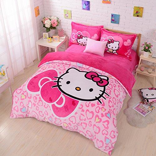 Fadfay Home Textile Hello Kitty Bedding Set Flannel Bedding Set Hello Kitty Bedroom Set Twin