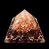 Red-Garnet Orgonite Pyramid/Reiki Crytsal Pyramids For Healing And Chakra Home Decoration 65 mm With Pouch